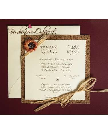 Partecipazioni di nozze ecologiche sughero con girasole