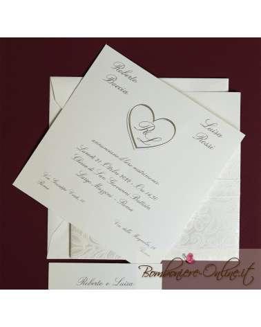 Partecipazione di nozze cuori argento