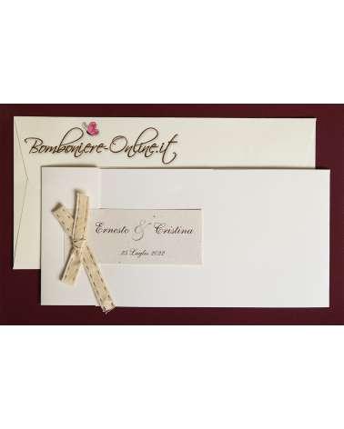 Partecipazione di nozze fiocco con impuntura