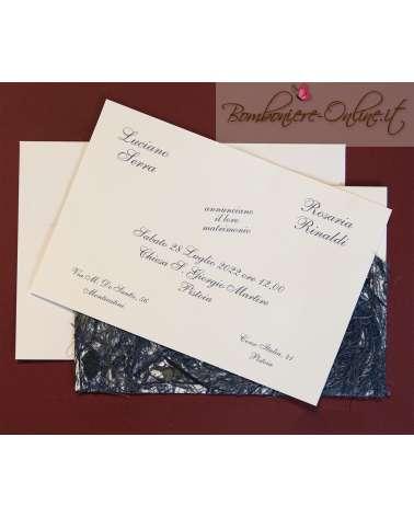 Partecipazione di nozze carta naturale indonesiana