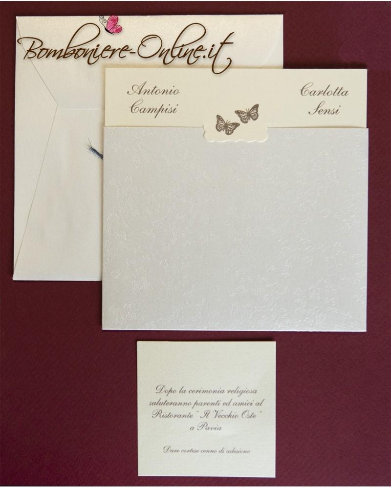 Partecipazione perlata farfalle