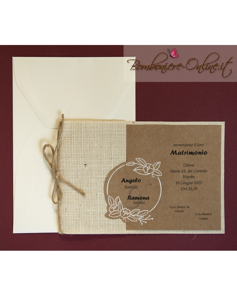 Partecipazioni Matrimonio Juta.Partecipazione Matrimonio Avana Con Tasca Juta