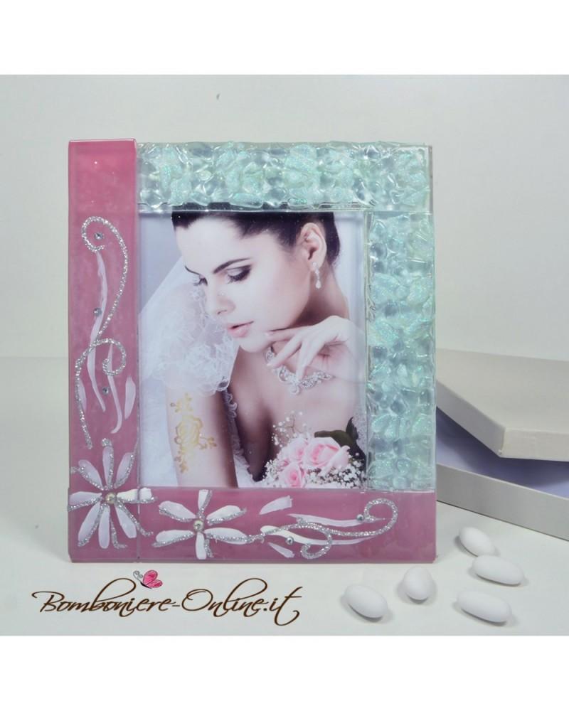 Portafoto in vetro rosa fiori 2