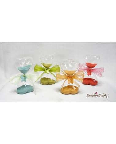 Originali Bomboniere clessidra in vetro grande con farfalle in ceramica