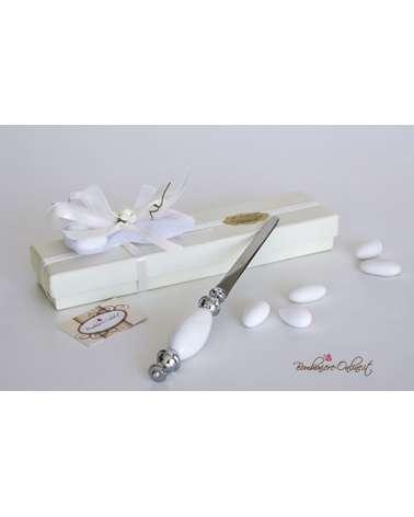 Tagliacarte porcellana bianca per Matrimonio Cresima o Comunione