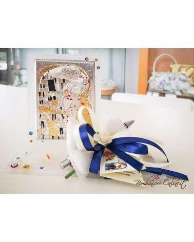 """Bomboniera Set scrivania in vetrusione con placca argento """"Omaggio a Klimt - Il bacio"""""""