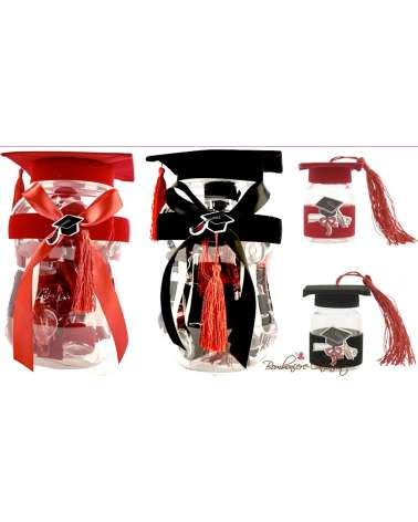 Barattolo laurea ROSSO PVC  con 20 20 portaconfetti completi