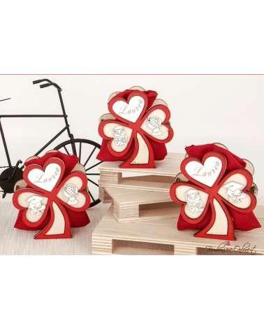 Portaconfetti in legno WOOD tre cuori LAUREA