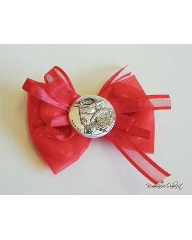 Sacchetto confetti Laurea Papillon con placchetta argento