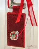 """Portachiavi rosso Laurea """"Coccinella argento"""""""