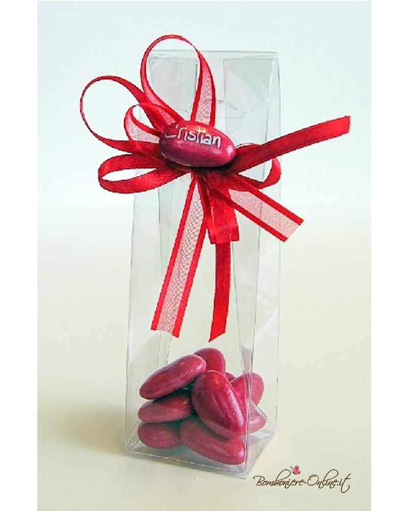 Box bomboniera in acetato trasparente con 11 confetti rossi e monoconfetto con nome