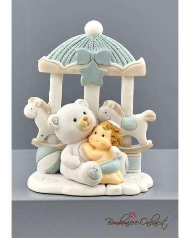 Bomboniera Battesimo orsetto con giostrina azzurro