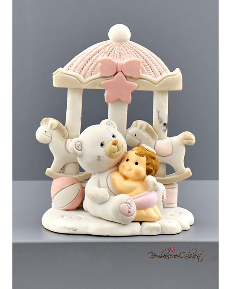 Bomboniera Battesimo orsetto con giostrina rosa