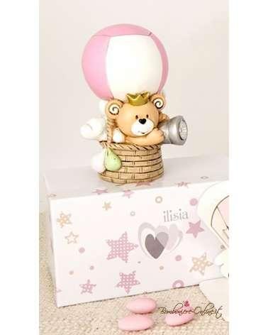 """Bomboniera orsetto rosa in mongolfiera con led collezione """"Child"""""""