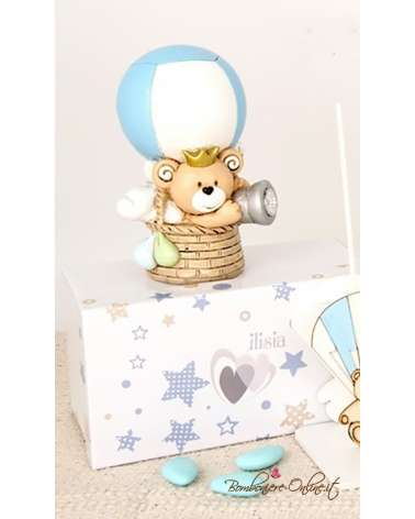 """Bomboniera orsetto azzurro in mongolfiera con led collezione """"Child"""""""