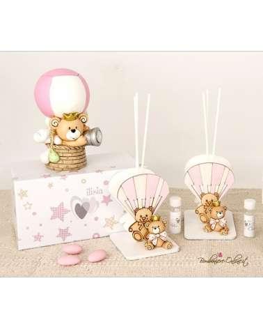 """Bomboniera profumatore orsetto rosa in mongolfiera con led collezione """"Child"""""""