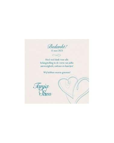 Partecipazione nozze Elegante turchese cuori, con invito incluso