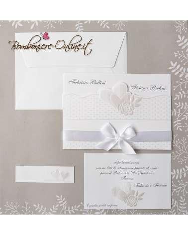 Partecipazione matrimonio pois cuori e rosa