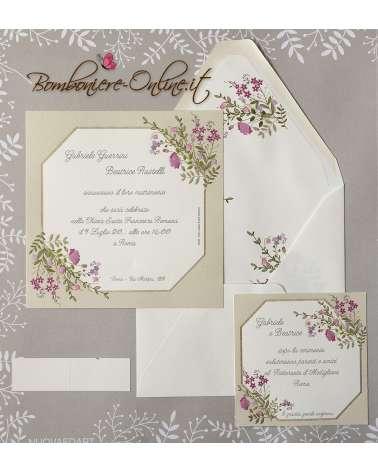 Partecipazione matrimonio 2019 elegante fiori rosa e lilla