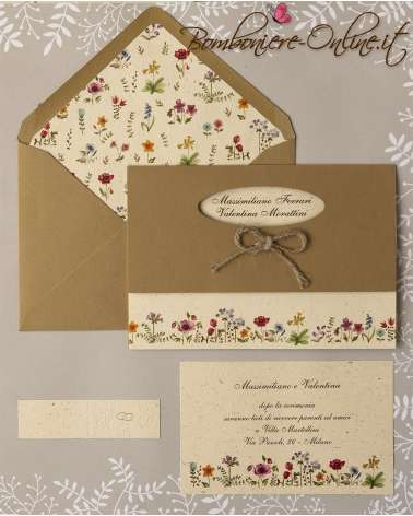 Partecipazione matrimonio fiori di campo