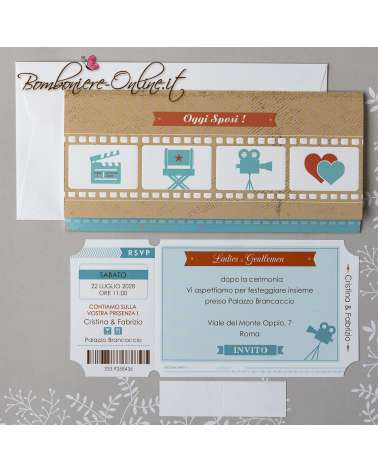 Partecipazione matrimonio biglietto cinema