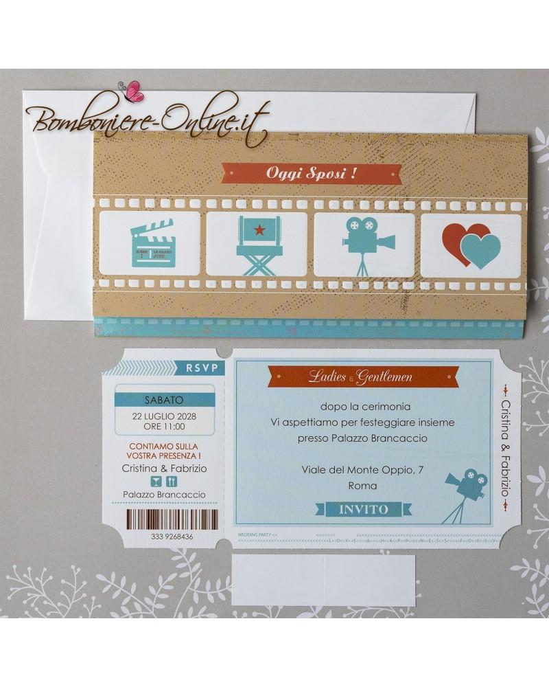 Partecipazioni Matrimonio Tema Cinema.Partecipazione Matrimonio Biglietto Cinema