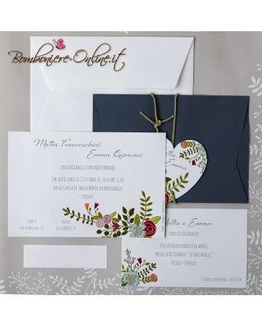 Partecipazione matrimonio fiori colorati