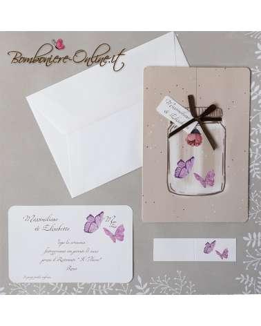 Partecipazione matrimonio farfalle sotto vetro con invito incluso