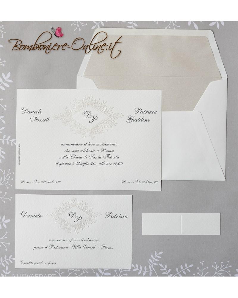 Partecipazioni Matrimonio Eleganti.Partecipazione Matrimonio Cornice Rombo Perlata