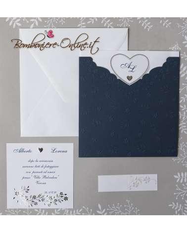 Partecipazione matrimonio tasca blu con fiorellini