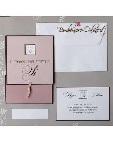 Partecipazione matrimonio rosa Modern line