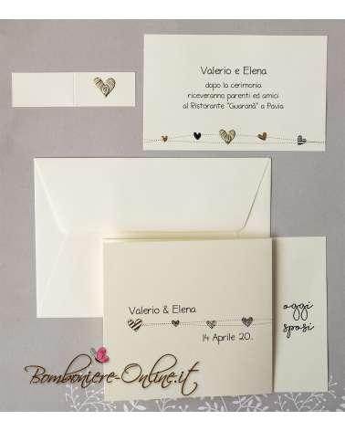 Partecipazione nozze con cuoricini black and gold