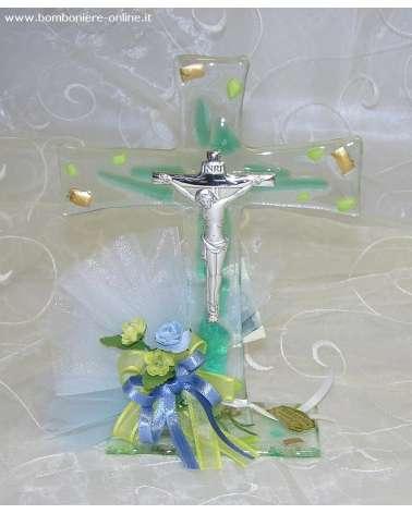 Bomboniera crocefisso vetrofusione placca argento inserti vetro verde e oro zecchino