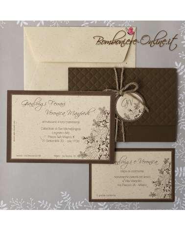 Partecipazione matrimonio elegante color cioccolato