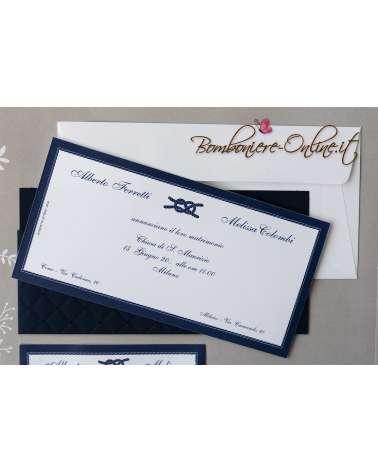 Partecipazioni Matrimonio Marine.Partecipazione Matrimonio Blu Marine
