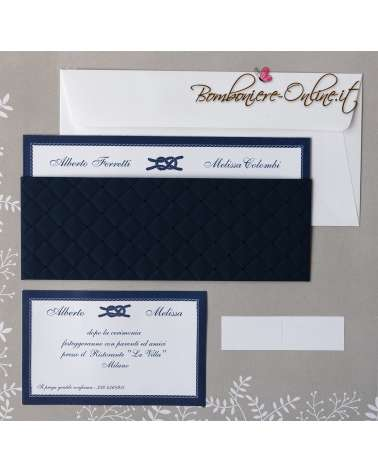 Partecipazione matrimonio Blu marine