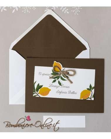 Partecipazione matrimonio 2019 limoni Amalfi con invito incluso