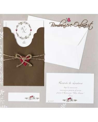 Partecipazione di nozze cuore legato con invito incluso