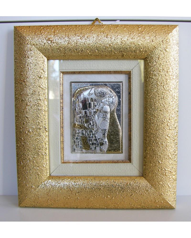 """Bomboniera quadro """"Il bacio"""" di Gustav Klimt in argento 925"""