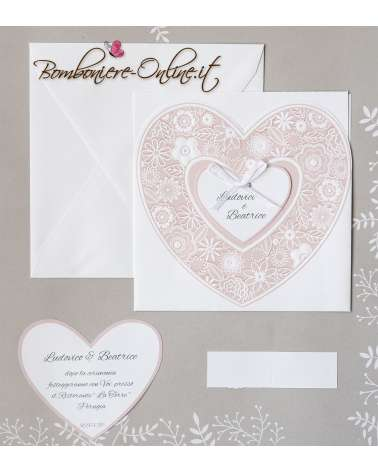Partecipazione nozze cuore rosa cipria