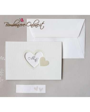 Partecipazione nozze finestra cuore con invito incluso
