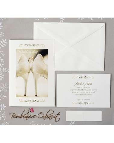 Partecipazione matrimonio scarpe da sposa Lei & Lei