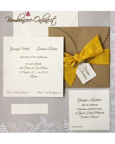 Partecipazione nozze nastro giallo