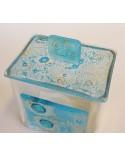 Bomboniera scatola quadrata con applicazione e coperchio in vetrofusione dettagli