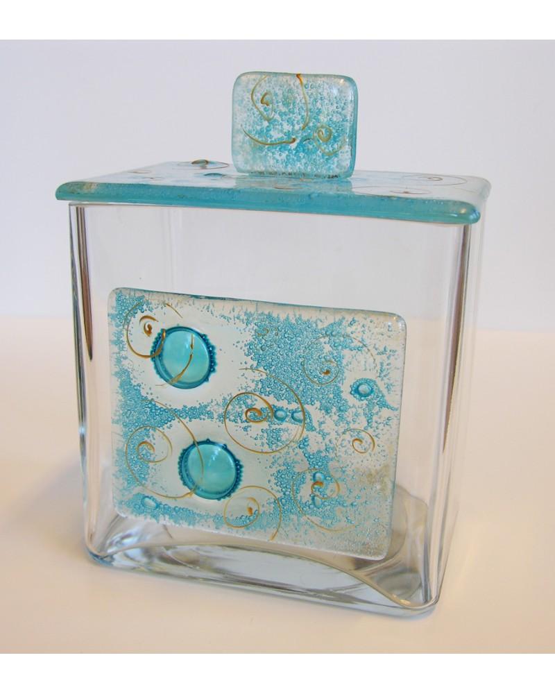 Bomboniera scatola quadrata con applicazione e coperchio in vetrofusione