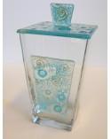 Bomboniera scatola grande in vetro con applicazione e coperchio in vetrofusione