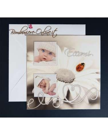 Biglietto battesimo o annuncio nascita coccinella