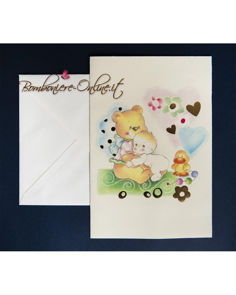 Invito battesimo o annuncio nascita bimbo con orsetto e paperella