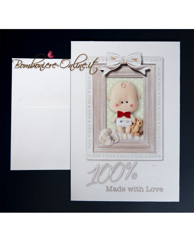 Invito Battesimo annuncio nascita 100% with love
