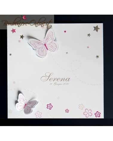 Invito battesimo o annuncio nascita farfallina rosa 3D